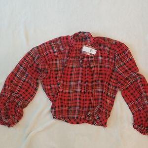 Plaid sheer mock turtleneck blouse